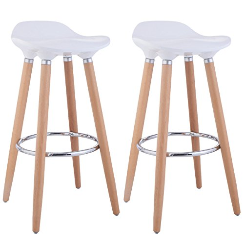 00d72278fa6 Costway Set of 2 ABS Eames Style Chair Bar Stool Modern Metal Barstool  Counter Stools with Wooden Legs Kitchen Furniture White