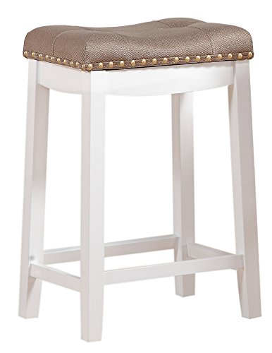 Angel Line Cambridge 24 Padded Saddle Stool White With