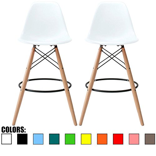 2xhome Set Of Two 2 White 28 Seat Height Eames