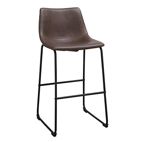 Adeco Brown Mid Century Barstools Armless Leather Barstool
