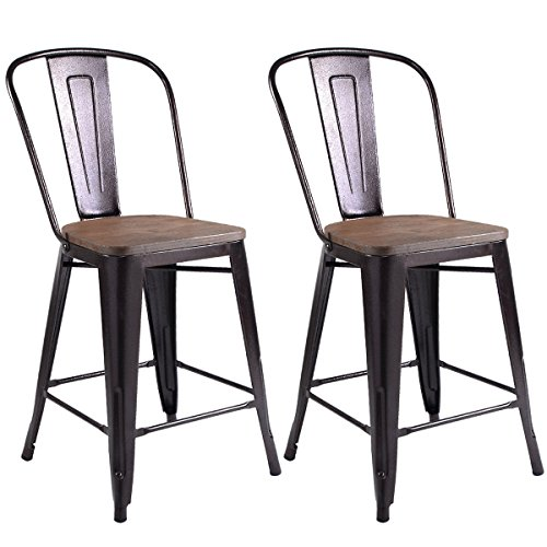 Costway Copper Set Of 2 Metal Wood Counter Stool Kitchen Dining Bar Chairs Rustic 23 6