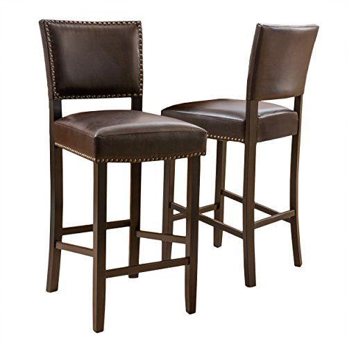 Denise Austin Home William Bonded Leather Backed Barstool