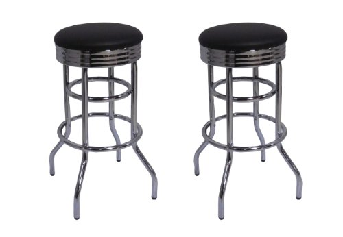 Trinity Chrome Swivel Barstool 29 In Black 2 Pack