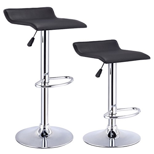 Costway Set Of 2 Swivel Bar Stools Adjustable Pu Leather