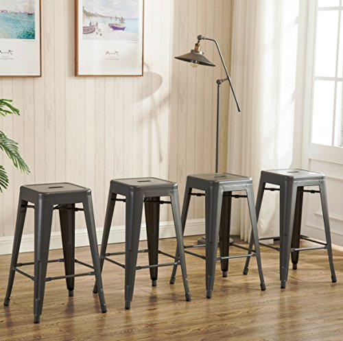 26inch Backless Metal Counter Height Bar Stools Set Of 4