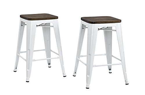 93188344a703a DHP Fusion Metal Backless Counter Stool with Wood Seat (Set of 2 ...