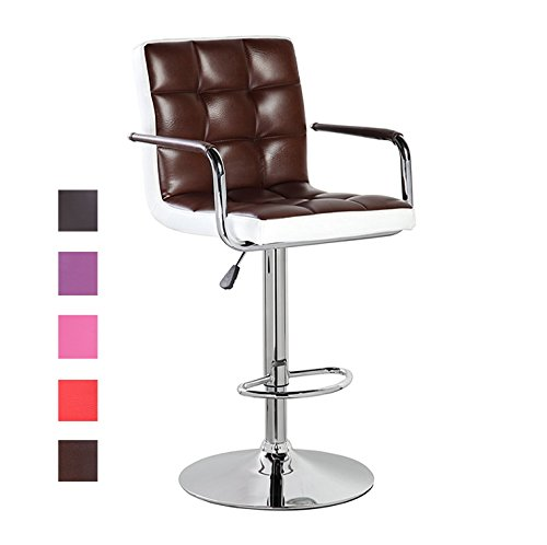 Modern Swivel Leather Adjustable Height Bar Stools With