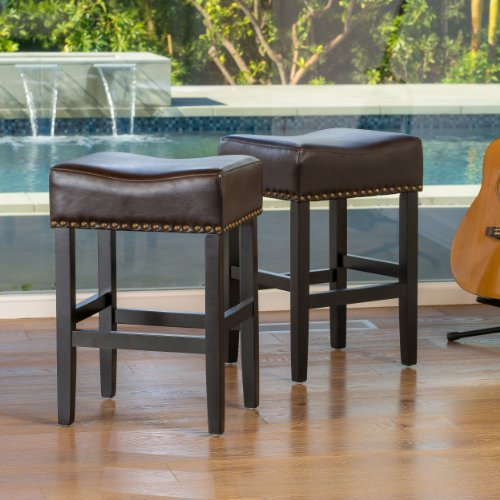Great Deal Furniture Chantal Backless Brown Leather