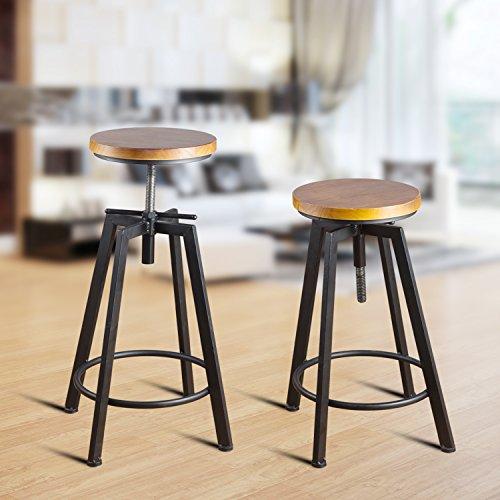 Round Wood Seat Bar Counter Height Adjustable Swivel Metal