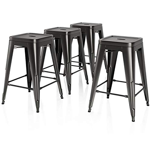 vipek 26 inches metal bar stool set of 4 counter height
