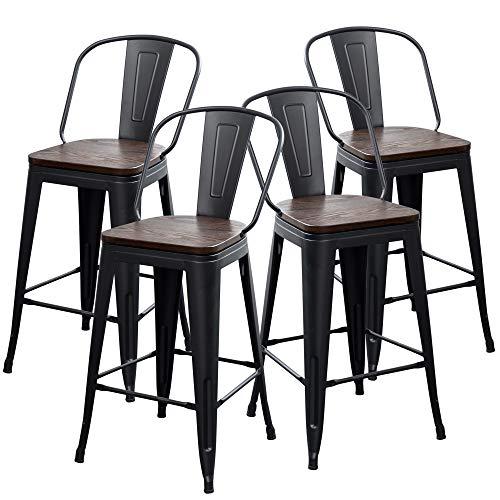 yongqiang metal bar stools set of 4 high back counter